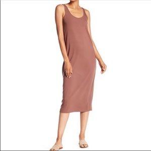NWT Joan Vass Midi Tank Cut And Sew Mocha Dress L